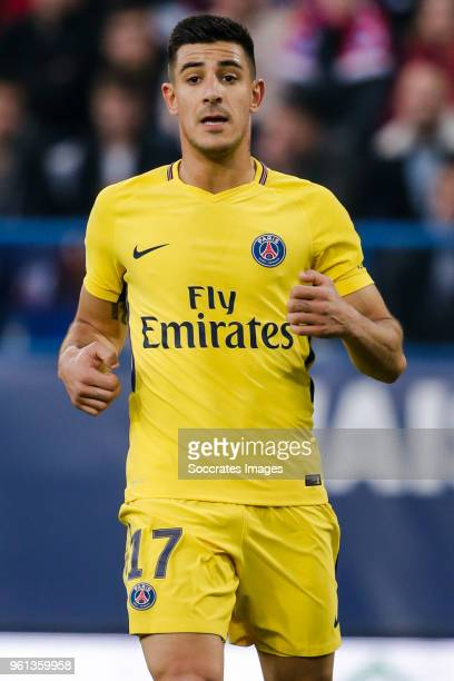 Yuri Berchiche of Paris Saint Germain during the French League 1 match between Caen v Paris Saint Germain at the Stade Michel d Ornano on May 19 2018...