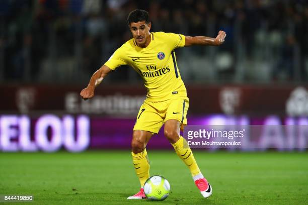 Yuri Berchiche of Paris SaintGermain Football Club or PSG in action during the Ligue 1 match between Metz and Paris Saint Germain or PSG held at...