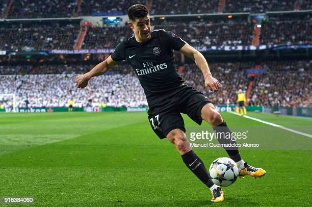 Yuri Berchiche of Paris SaintGermain in action during the UEFA Champions League Round of 16 First Leg match between Real Madrid and Paris...