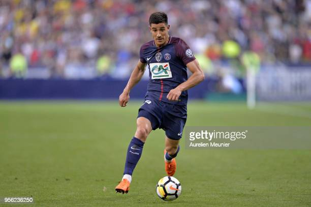 Yuri Berchiche of Paris SaintGermain runs with the ball during the Coupe de France Final between Les Herbiers VF and Paris SaintGermain at Stade de...