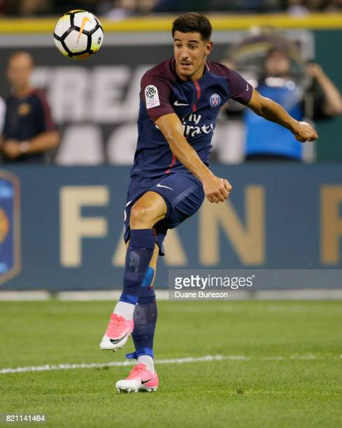 Yuri Berchiche of Paris SaintGermain takes a shot on goal against AS Roma during the second half at Comerica Park on July 19 2017 in Detroit Michigan