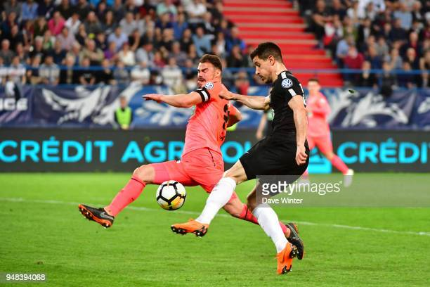 Yuri Berchiche of PSG and Damien Da Silva of Caen during the French Cup Semi Final match between Caen and Paris Saint Germain on April 18 2018 in...