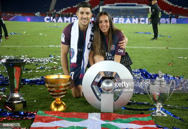 Yuri Berchiche of PSG and his girlfriend Maddi Alduntzin celebrate during the French Ligue 1 Championship Trophy Ceremony following the Ligue 1 match...