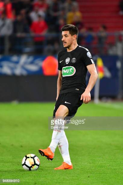 Yuri Berchiche of PSG during the French Cup Semi Final match between Caen and Paris Saint Germain on April 18 2018 in Caen France