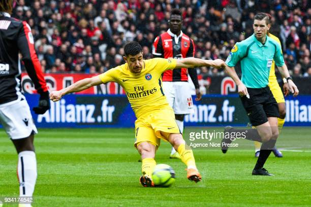 Yuri Berchiche of PSG during the Ligue 1 match between OGC Nice and Paris Saint Germain at Allianz Riviera on March 18 2018 in Nice