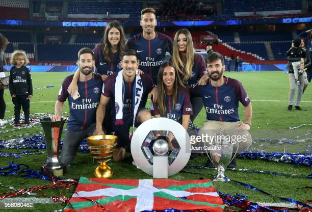 Yuri Berchiche of PSG his girlfriend Maddi Alduntzin and family celebrate during the French Ligue 1 Championship Trophy Ceremony following the Ligue...
