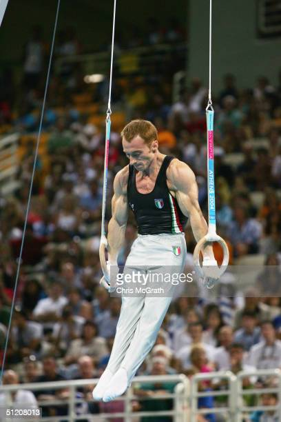 Yuri Chechi of Italy competes in the men's artistic gymnastics ring finals on August 22 2004 during the Athens 2004 Summer Olympic Games at the...