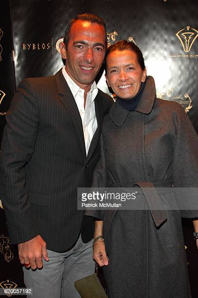 Yuri Djorkaeff and Sophie Djorkaeff attend BYBLOS Anniversary Party at Pink Elephant NYC on February 19 2008