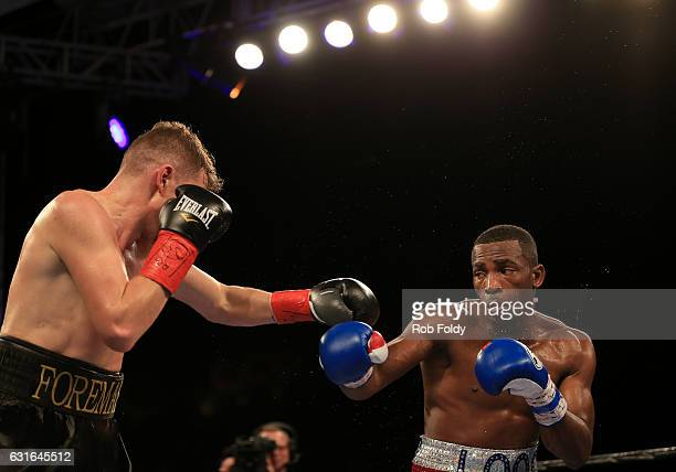 Yuri Foreman fights against Erislandy Lara during the third round of their WBA World Super Welterweight Championship bout at Hialeah Park on January...