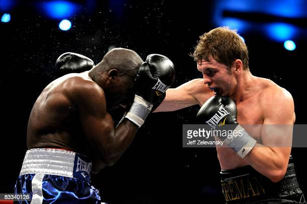Yuri Foreman of Brooklyn New York lands a punch on Vinroy Barrett of Kingston Jamaica during their Junior Middleweight bout at Boardwalk Hall on...