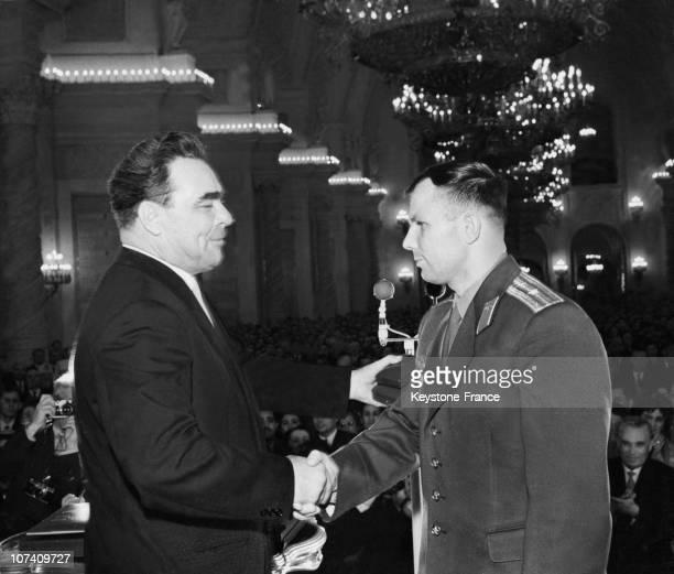 Yuri Gagarin And Leonid Brezhnev On April 1961
