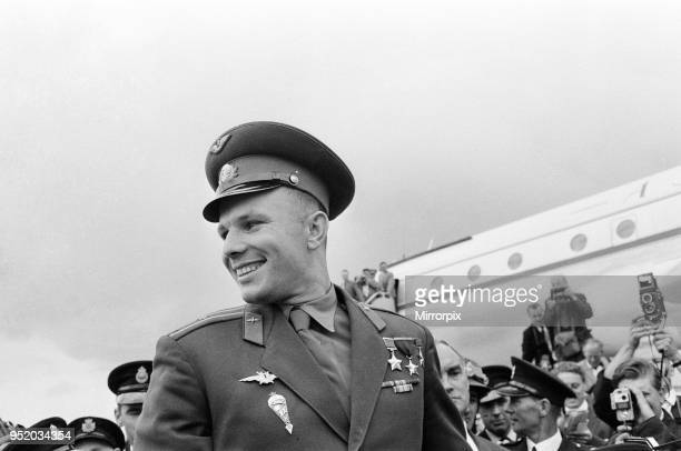 Yuri Gagarin, Soviet Cosmonaut, the first human to journey into outer space when his Vostok spacecraft completed an orbit of the Earth , visits...