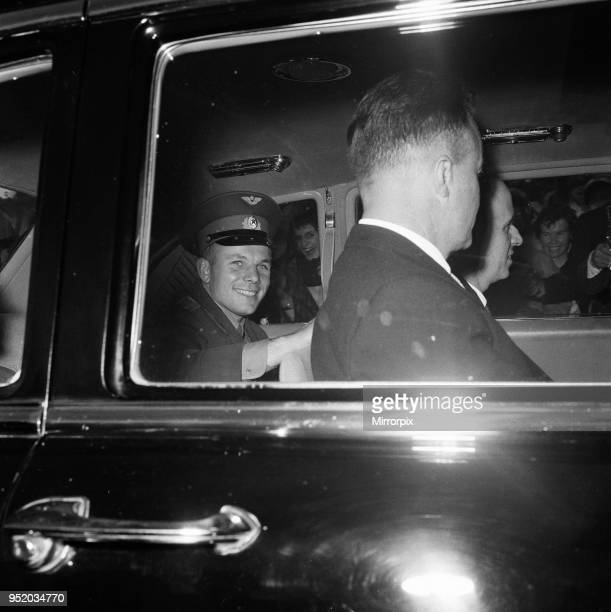Yuri Gagarin Soviet Cosmonaut the first human to journey into outer space when his Vostok spacecraft completed an orbit of the Earth visits Britain...
