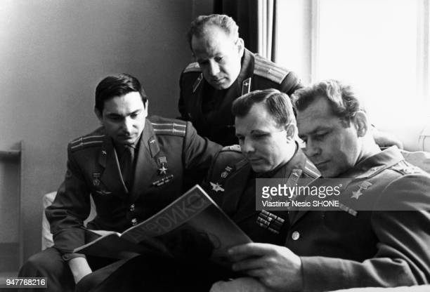 USSR Yuri Gagarin with Cosmonauts Valeri Bikov Alexei Leonov and German Titov Sixties