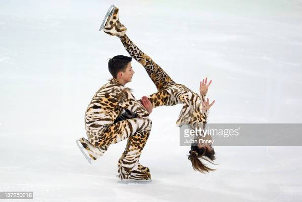 Yuri Gilitski and Eugenia Tkachenka of Belarus perform in the Ice Dance Free Dance Figure Skating during the Winter Youth Olympic Games on January 17...