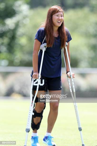Yuri Kawamura on crutches The North Carolina Courage held a training session on June 9 at WakeMed Soccer Park Field 5 in Cary NC