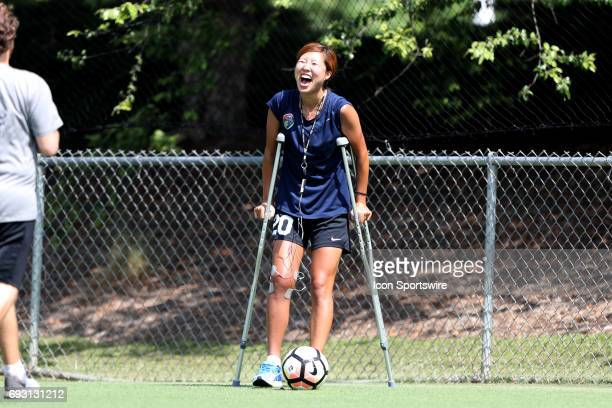 Yuri Kawamura on crutches while awaiting results from an MRI on her right knee after suffering an injury in the previous game of the North Carolina...