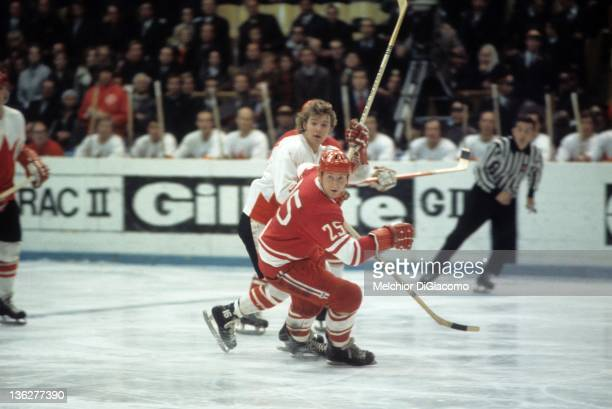 Yuri Liapkin of the Soviet Union defends Bobby Clarke of Canada during the 1972 Summit Series at the Luzhniki Ice Palace in Moscow Russia