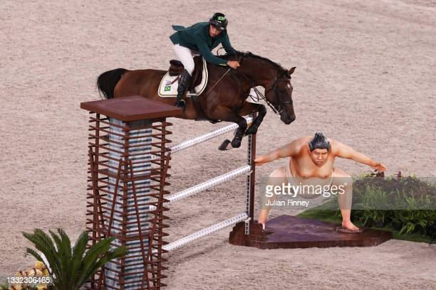 Yuri Mansur of Team Brazil riding Alfons competes during the Jumping Individual Final on day twelve of the Tokyo 2020 Olympic Games at Equestrian...