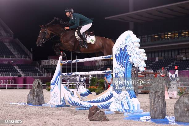 Yuri Mansur of Team Brazil riding Romeo 88 competes in the Jumping Team Final at Equestrian Park on August 07, 2021 in Tokyo, Japan.
