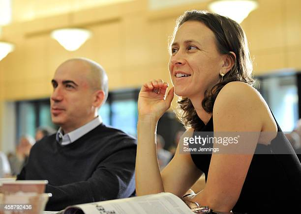 Yuri Miller and Anne Wojcicki listen to the panel of this year's prize winning research at the Breakthrough Prize Breakfast Symposia at on November...