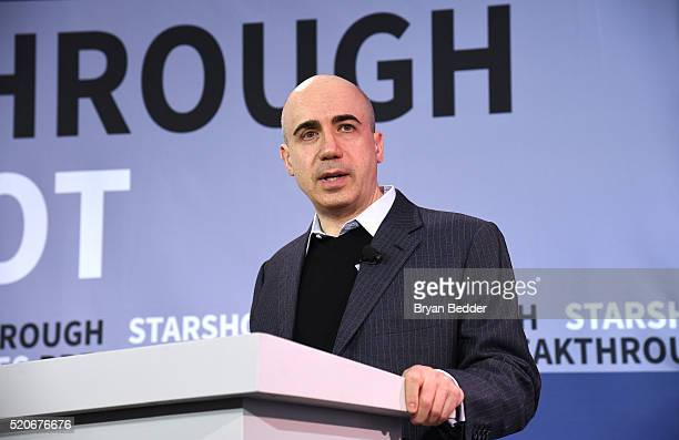 Yuri Milner Breakthrough Prize and DST Global Founder demonstrates a new chip on stage as Yuri Milner and Stephen Hawking host press conference to...