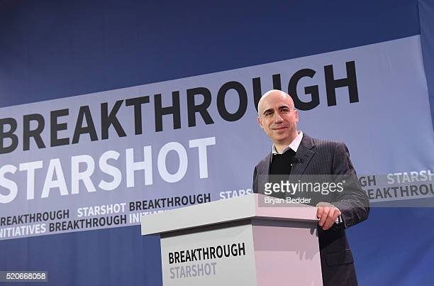 Yuri Milner Breakthrough Prize and DST Global Founder speaks on stage as he and Stephen Hawking host press conference to announce Breakthrough...