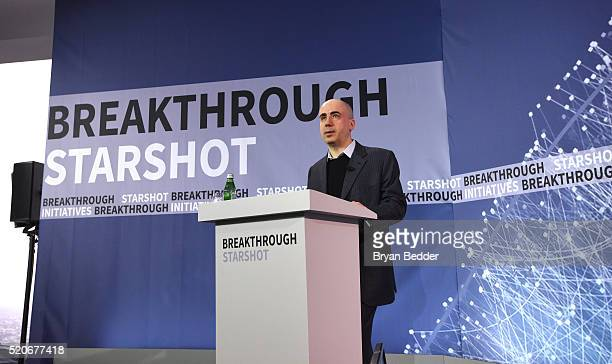 Yuri Milner Breakthrough Prize and DST Global Founder speaks on stage as Yuri Milner and Stephen Hawking host press conference to announce...