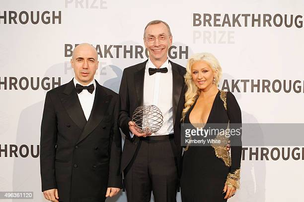 Yuri Milner Director Max Planck Institute for Evolutionary Anthropology Svante Paabo posing with the 2016 Breakthrough Prize in Life Sciences and...