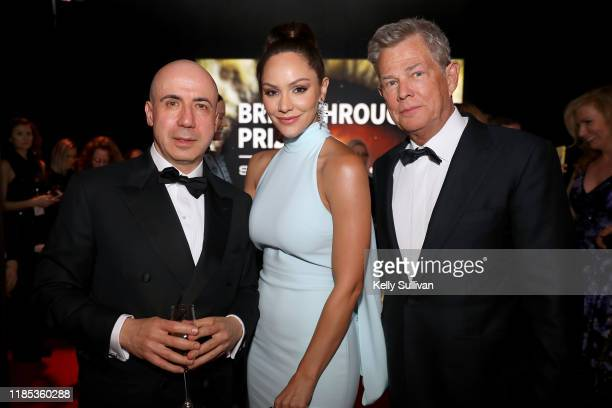 Yuri Milner Katharine McPhee and David Foster attend the 2020 Breakthrough Prize at NASA Ames Research Center on November 03 2019 in Mountain View...