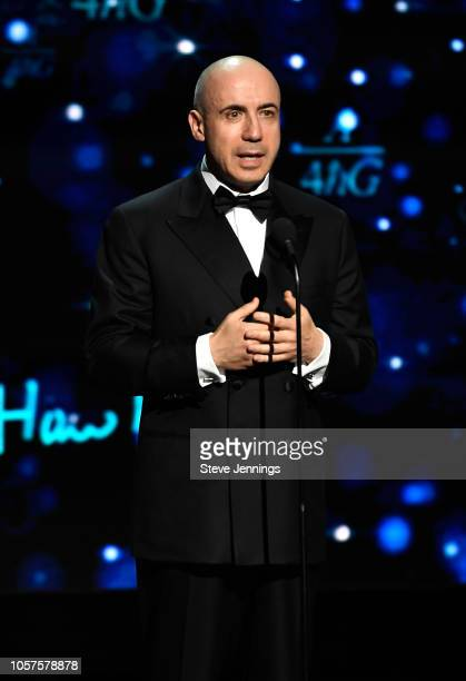 Yuri Milner speaks onstage at the 2019 Breakthrough Prize at NASA Ames Research Center on November 4 2018 in Mountain View California