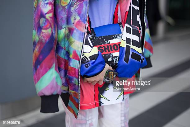 Yuri Nakagawa attends the Divka show during Tokyo Fashion Week wearing Forsted Tokyo jacket Assk shirt Tackla pants Marc Jacobs shoes and thrifted...