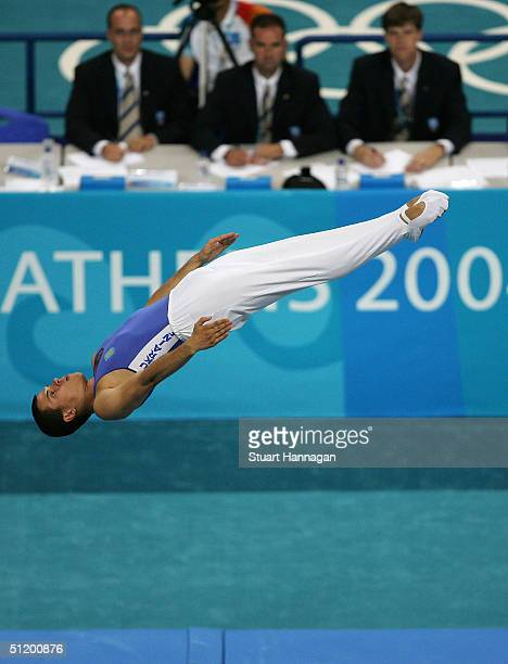 Yuri Nikitin of the Ukraine competes in the men's trampoline final on August 21, 2004 during the Athens 2004 Summer Olympic Games at the Olympic...