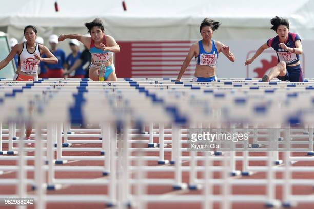 Yuri Okubo, Masumi Aoki, Hikari Tanaka and Hitomi Shimura compete in the Women's 100m Hurdles final on day three of the 102nd JAAF Athletic...