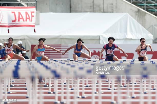 Yuri Okubo Masumi Aoki Hikari Tanaka Hitomi Shimura and Ayako Kimura compete in the Women's 100m Hurdles final on day three of the 102nd JAAF...