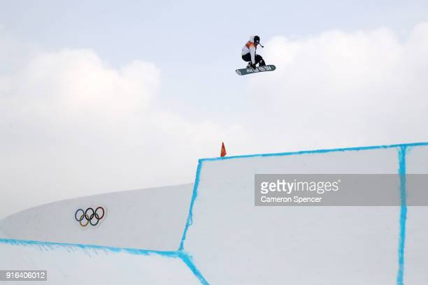 Yuri Okubo of Japan trains ahead of the Men's Slopestyle qualification on day one of the PyeongChang 2018 Winter Olympic Games at Phoenix Snow Park...