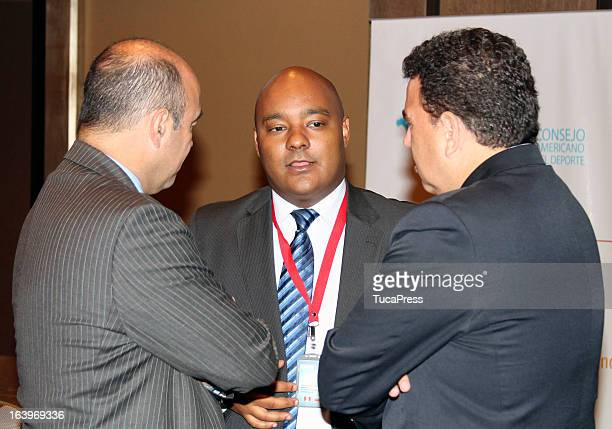 Yuri Quiñones Leones talks during the Antidopping Commission Conference as part of XIX Sports Minister of America and Iberoamerica Meeting Organized...