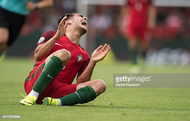 Yuri Ribeiro of Portugal reacts during the UEFA Under19 European Championship match between U19 Germany and u19 Portugal at mechatronik Arena on July...