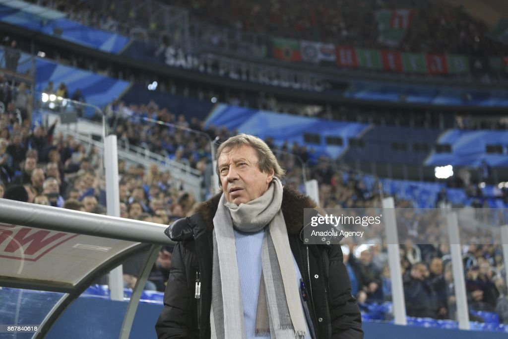 Yuri Semin Head coach of Lokomotiv Moscow is seen during the Russian Football Premiere-League match between Zenit St. Petersburg and Lokomotiv Moscow at Saint-Petersburg Stadium in St. Petersburg, Russia on October 29, 2017.