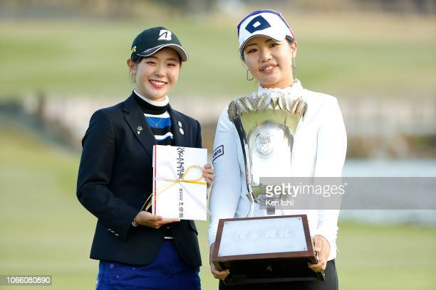 Yuri Yoshida of Japan and AhReum Hwang of South Korea pose for photos after the ItoEn Ladies at the Great Island Club on November 11 2018 in Chonan...