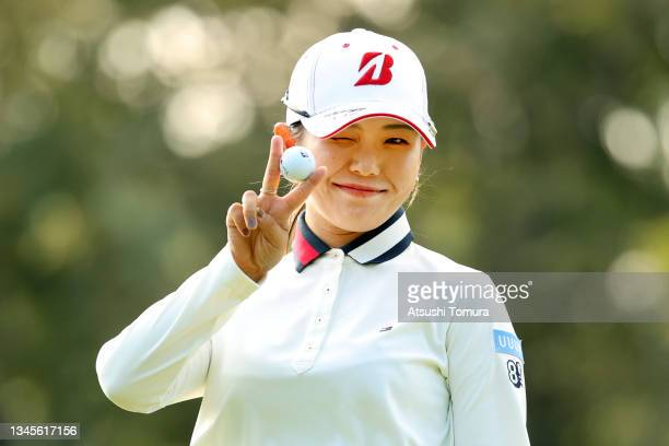 Yuri Yoshida of Japan poses after the birdie putt on the 14th green during the second round of the Stanley Ladies at Tomei Country Club on October 9,...