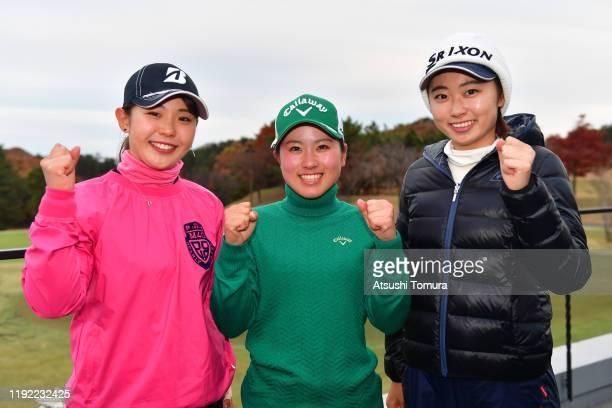 Yuri Yoshida Yuna Nishimura and Yuka Yasuda of Japan pose after the final round of the Japanese LPGA Final Qualifying Tournament at Kodama Golf Club...