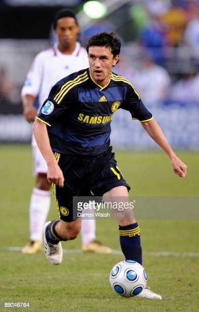 Yuri Zhirkov of Chelsea handles the ball against AC Milan during the World Football Challenge at M&T Bank Stadium on July 24, 2009 in Baltimore,...