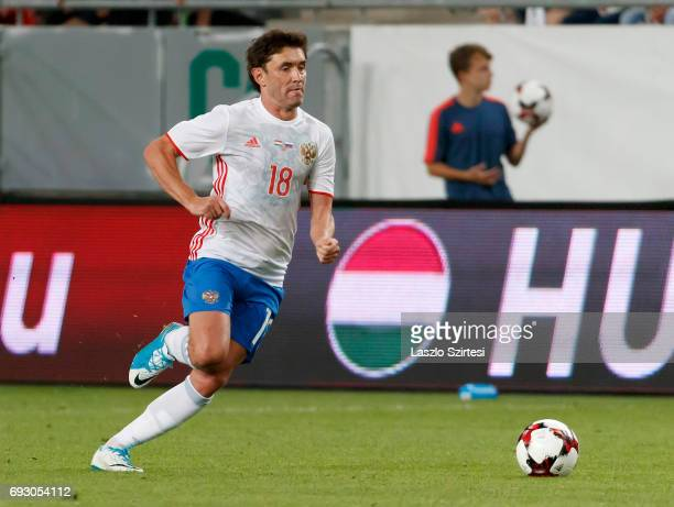 Yuri Zhirkov of Russia controls the ball during the International Friendly match between Hungary and Russia at Groupama Arena on June 5, 2017 in...