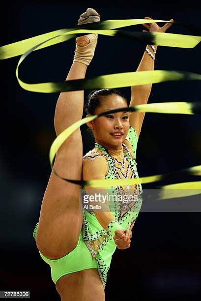 Yuria Onuki of Japan performs during the Women's Rhythmic Gymnastics Qualifying round during the 15th Asian Games Doha 2006 at the Aspire hall...