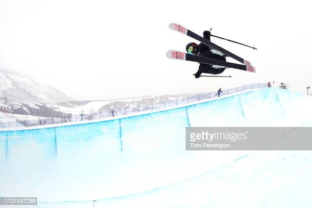 Yurie Watabe of Japan takes a run for the Ladies' Ski Halfpipe training at the FIS Freestyle Ski World Championships on February 04 2019 at Park City...