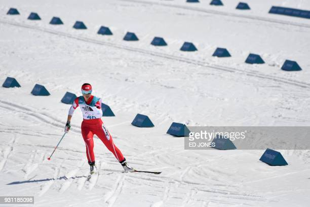 Yurika Abe of Japan competes during the women's 10km standing biathlon event at the Alpensia Biathlon Centre during the Pyeongchang 2018 Winter...