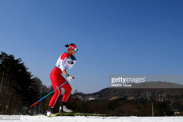 Yurika Abe of Japan competes in the Women's 10 km Standing Biathlon at Alpensia Biathlon Centre on Day 4 of the PyeongChang 2018 Paralympic Games on...