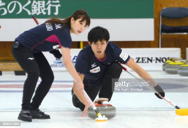 Yurika Yoshida and Yusuke Morozumi compete on day three of the 11th All Japan Mixed Curling Championship at the Michigin Dream Stadium on March 16,...