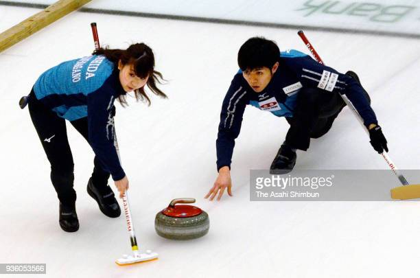 Yurika Yoshida and Yusuke Morozumi compete on day two of the 11th All Japan Mixed Curling Championship at the Michigin Dream Stadium on March 15,...